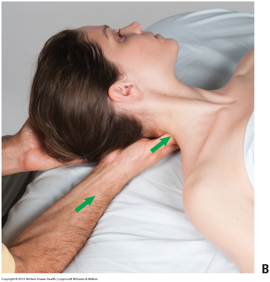 manual therapy massage into spasmed muscles of the neck (transversospinalis)