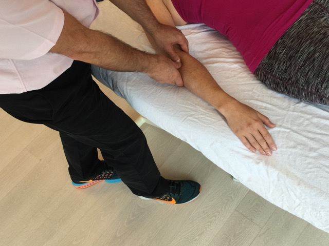 Manual therapy for tennis elbow should include soft tissue manipulation (massage). Here, cross fiber work is shown.