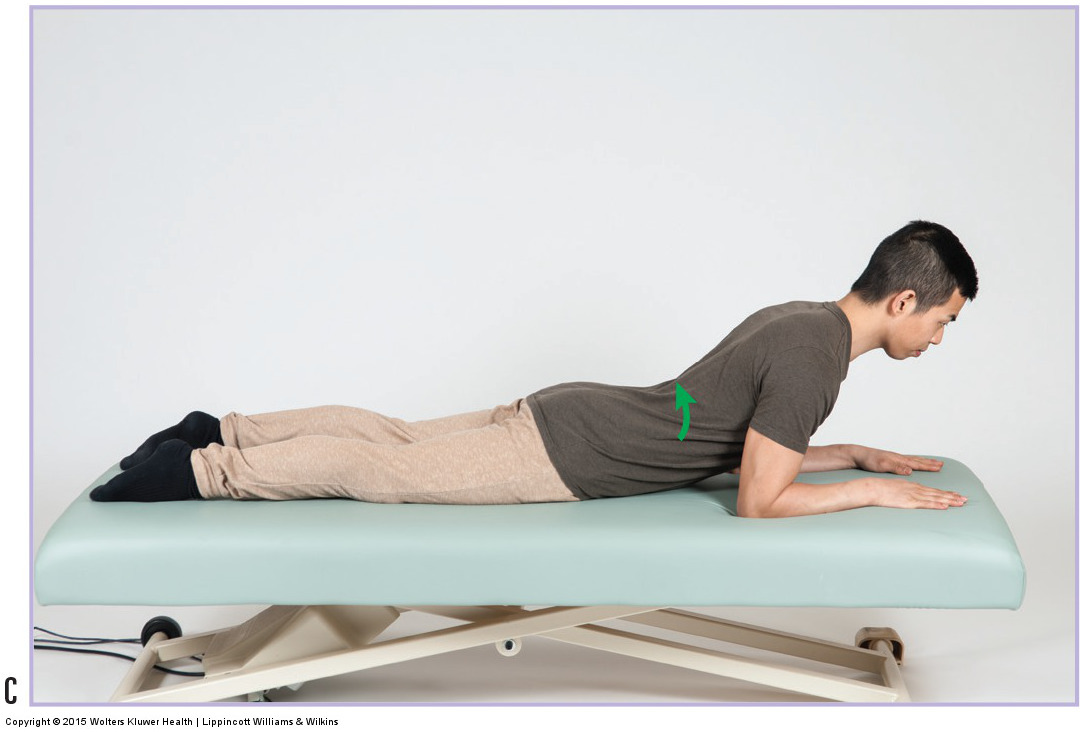 back extension exercise for a lumbar pathologic disc (e.g., herniated disc)