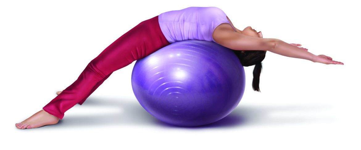 extension mobilization stretch for the thoracic spine on an exercise ball