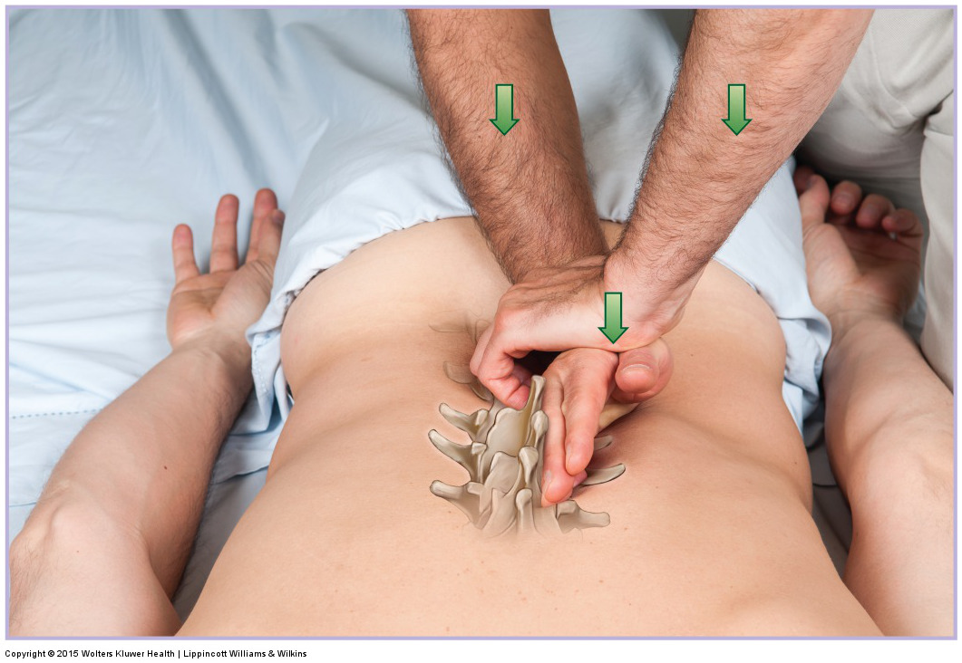 joint mobilization of the lumbar spine into rotation