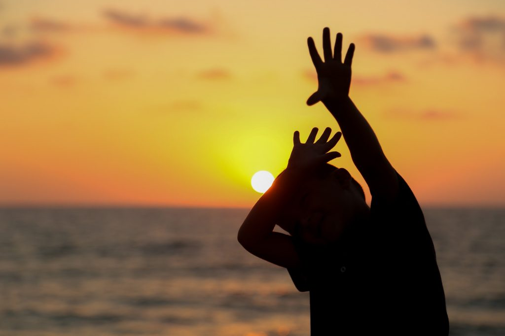 Sun Silhouette Hand Touch Man Sunset Child