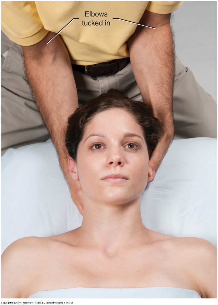 Deep Pressure Massage technique for the neck: Starting position. Permission: Joseph E. Muscolino. Advanced Treatment Techniques for the Manual Therapist: Neck (2015)