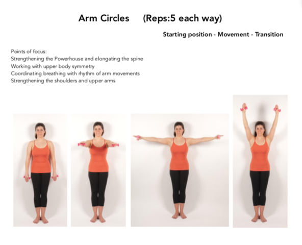 Figure 6. Arm Circles against the wall. Permission Simona Cipriani. The Art of Control Pilates Studio, Stamford, CT, USA.