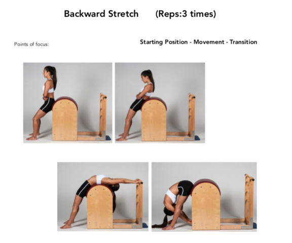 Figure 13. The Backward Stretch on the Ladder Barrel Pilates Apparatus Exercise. Permission Simona Cipriani. The Art of Control Pilates Studio, Stamford, CT, USA.