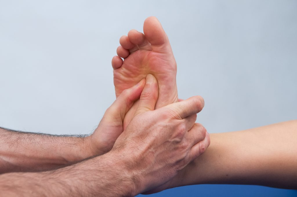 Manual therapy for an overly pronated foot is often a valuable addition to the treatment rehabilitation plan. Permission: Dr. Joe Muscolino.