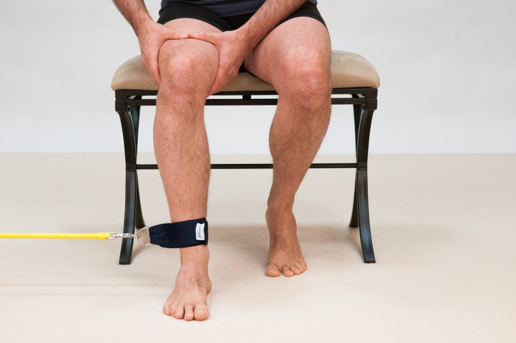 Resistance tubing exercise for the lateral rotators of the hip joint is an exercise approach for an overly pronated foot. Foot Levelers Thera-ciser shown. Figure permission Dr. Joe Muscolino.